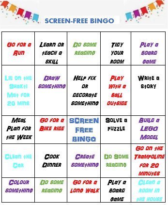 screen-free teenagers bingo card