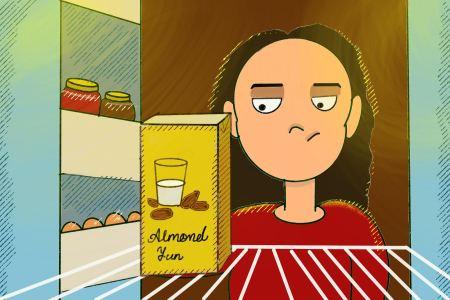 almond milk in the fridge