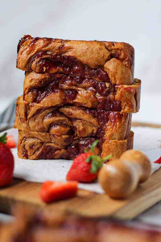 Peanut Butter and Jelly Yogurt Loaf Cake - Pink Owl Kitchen
