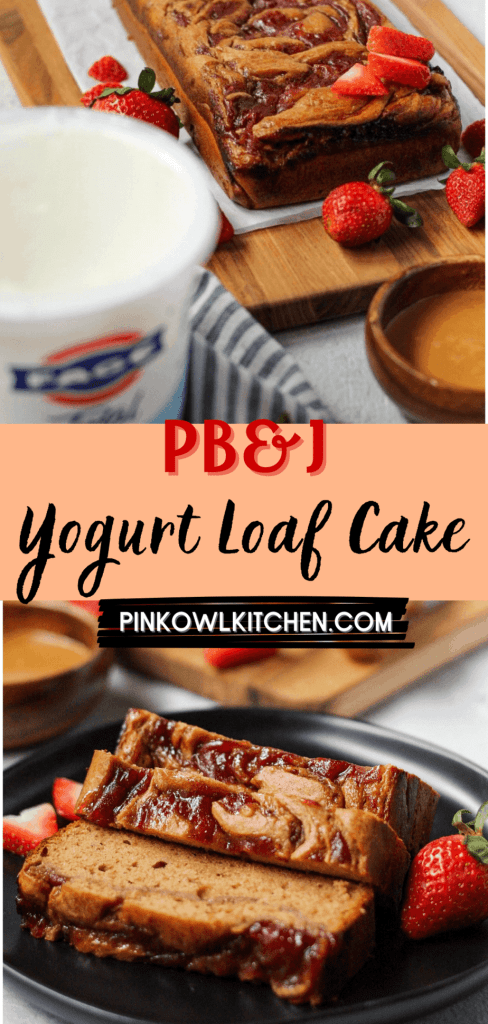 This moist loaf cake is filled with the flavors of your favorite childhood treat - PB&J! Tender peanut butter yogurt cake is swirled with strawberry jam to create a delicious, nostalgic treat! #loafcake #yogurtcake #peanutbuttercake #peanutbutterandjelly #cakerecipes #dessertrecipes