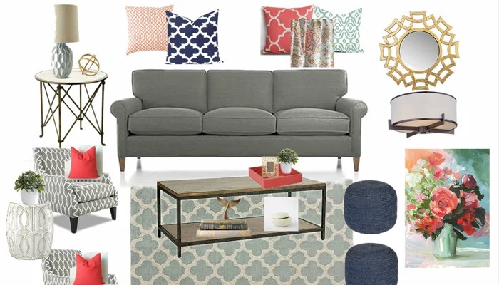 Gray, Blue and Coral Family Room E-Design