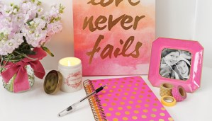 Blog header pink and gold desk