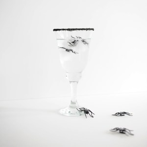 DIY: Spooky Halloween Spider Ice Cubes and Black Sugar Rimmed Glasses