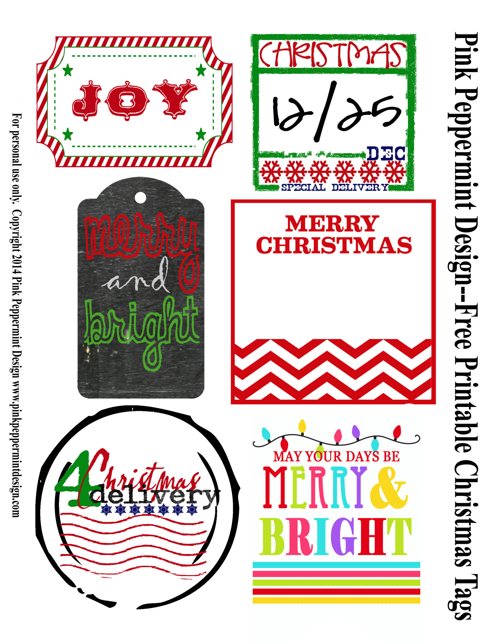 image regarding Merry Christmas Tags Free Printable named Xmas Present Tags Printables - Purple Peppermint Design and style