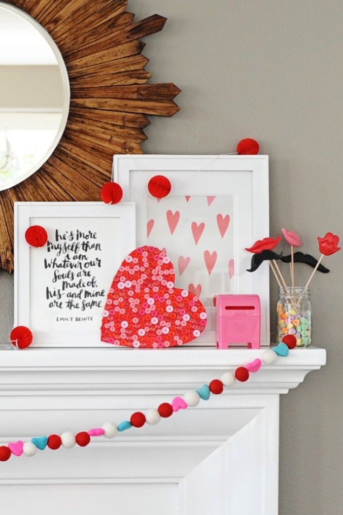 tips for styling a fun and colorful valentine mantel