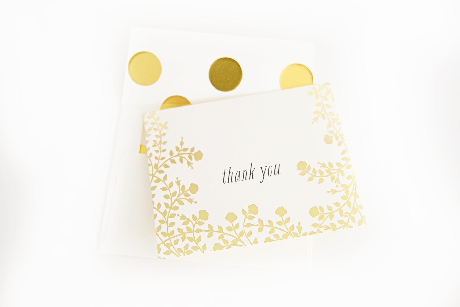 DIY Lined Envelopes with Gold Polka Dots
