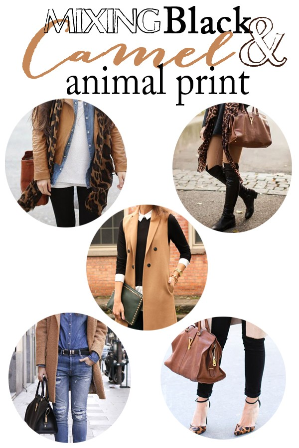 style tips for mixing black camel and animal print