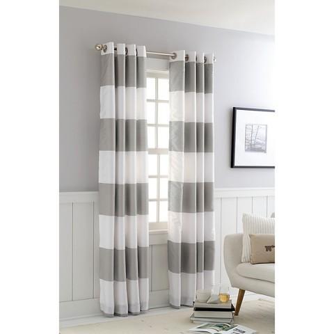 wide horizontal stripe gray drapes