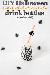 Diy video tutorial how to make halloween glitter spiderweb party drink bottles 683x1024