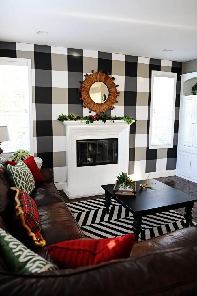 Buffalo Plaid Black And White Diy Temporary Wallpaper Pink Peppermint Design