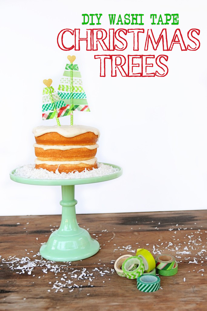 Washi Tape Christmas Tree Cute DIY Cake Topper