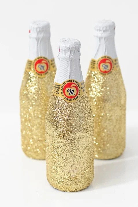 DIY glittered Mini Champagne and Sparkling Cider Bottles