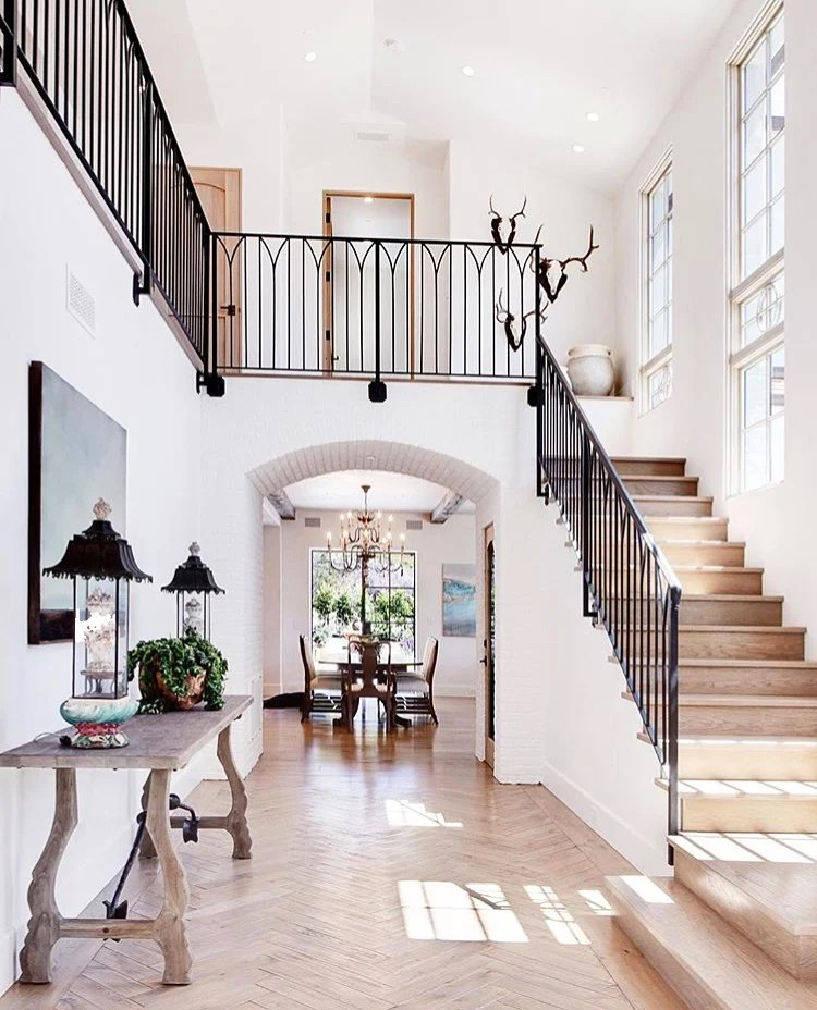 stair railing and entryway design