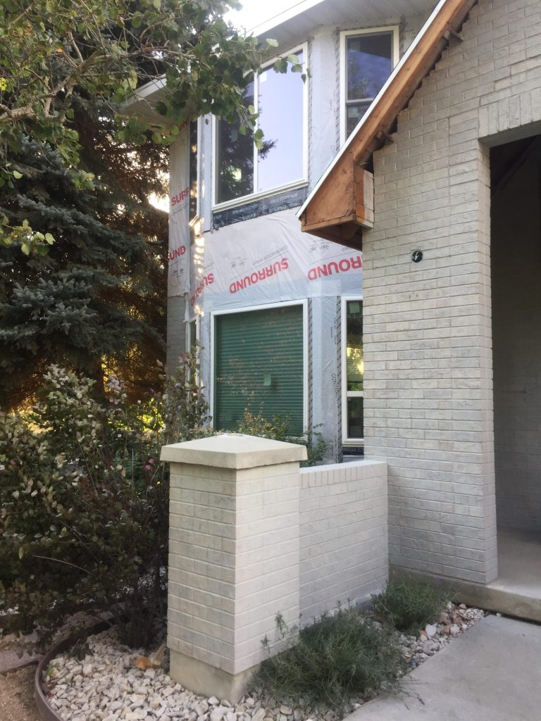 grey painted brick house