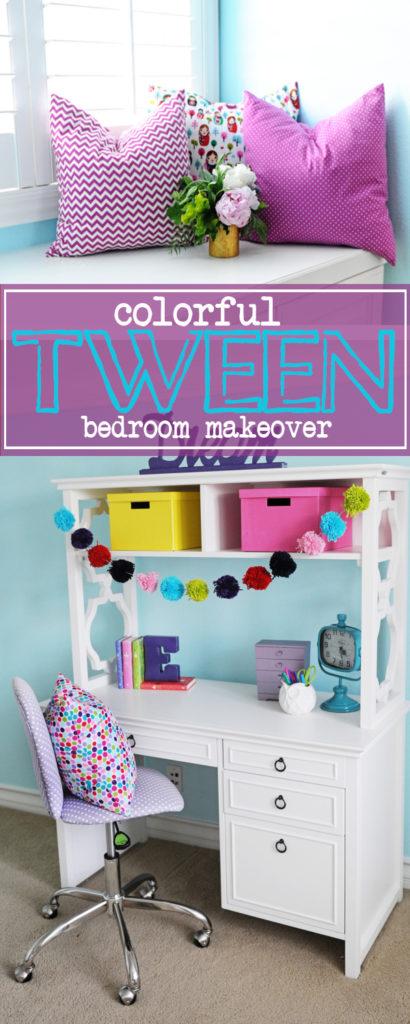 Colorful tween bedroo makeover 410x1024
