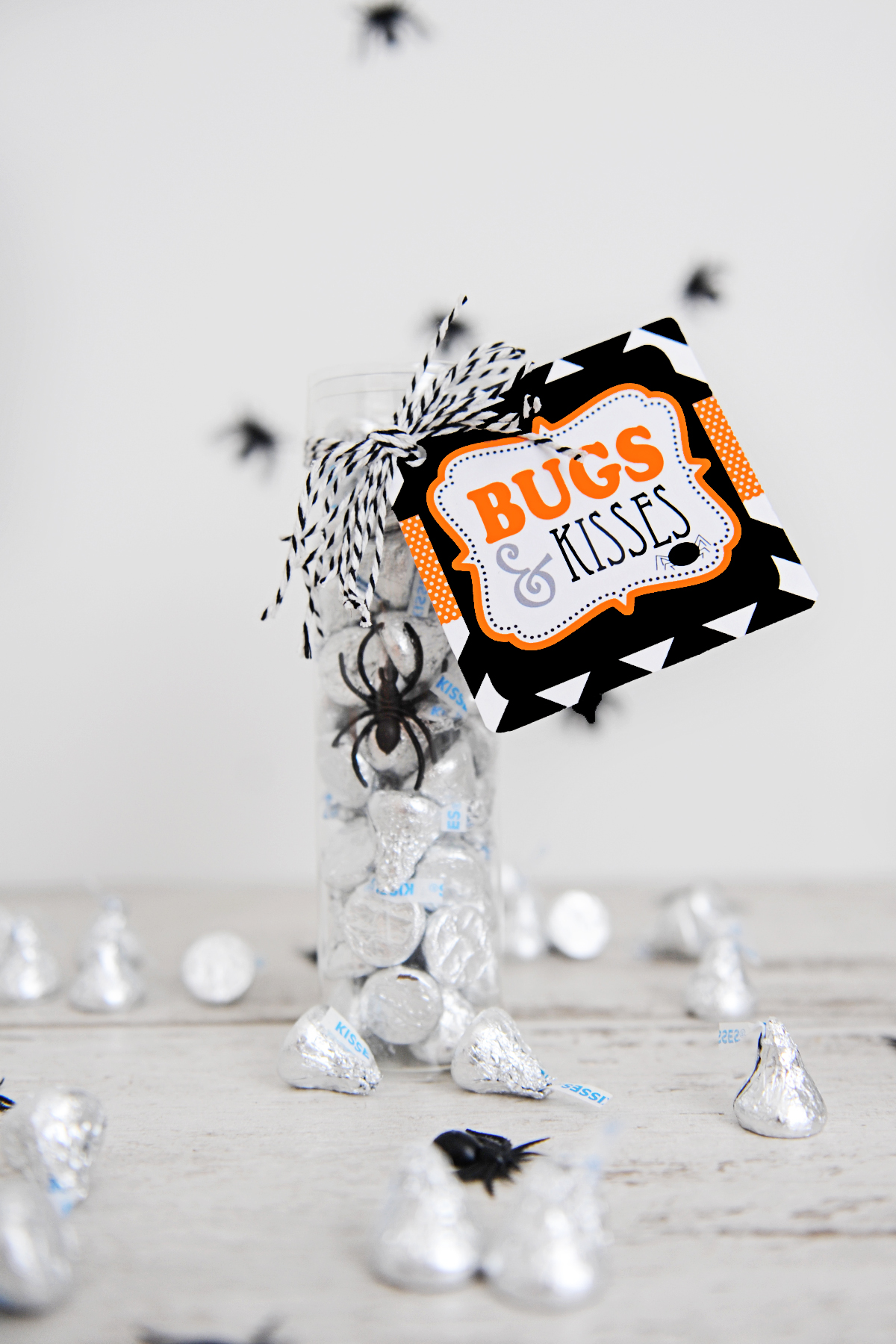 image about Bugs and Kisses Free Printable named Adorable Insects and Kisses Printable for Halloween - Purple