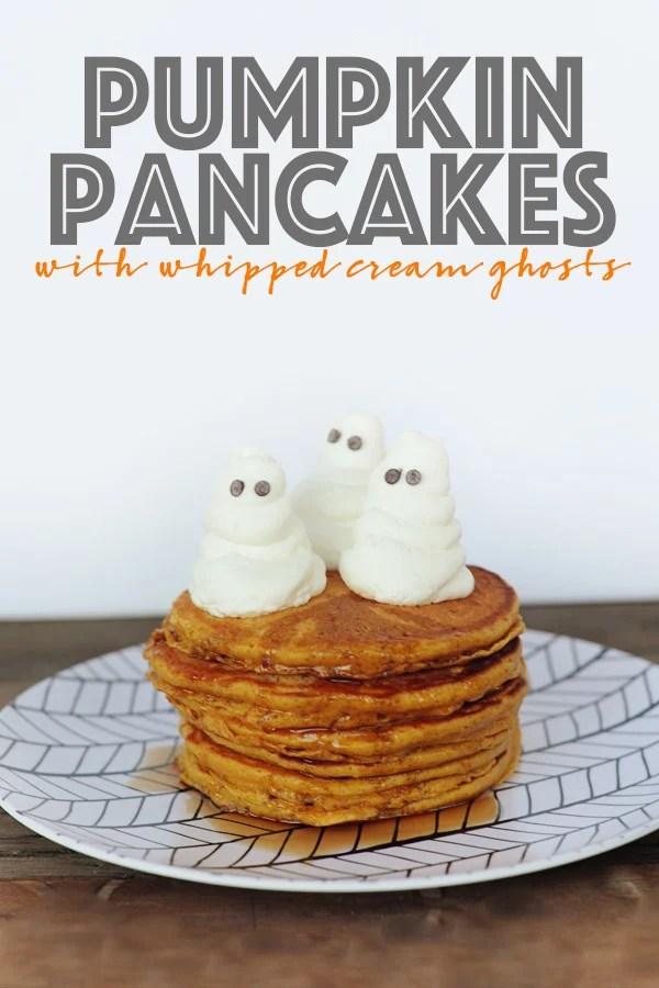 Easy pumpkin pancake recipe wih whipped cream ghosts 2 copy
