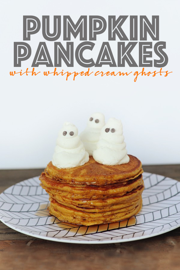 pumpkin pancakes with whipped cream ghosts