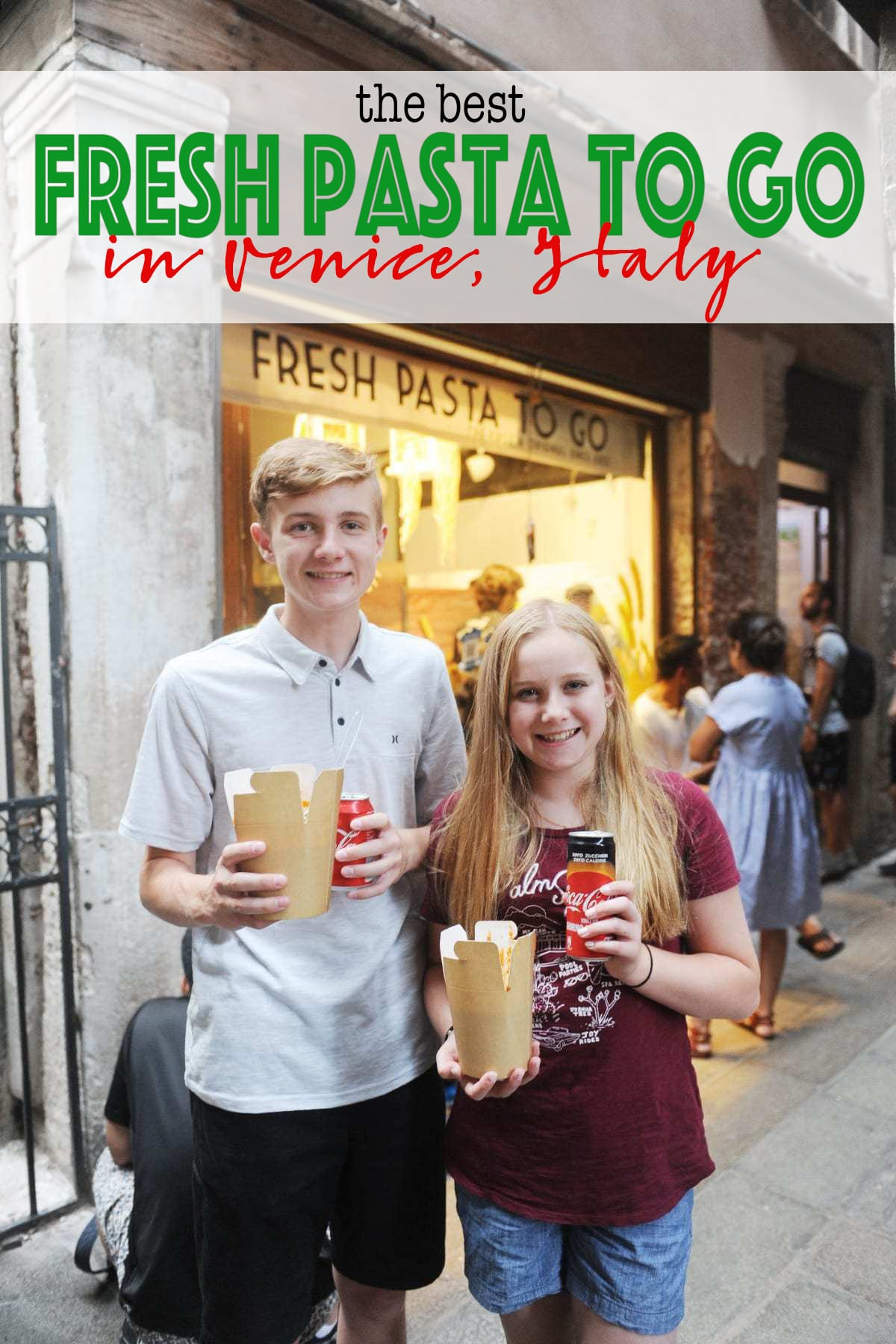Fresh pasta to go venice italy with text