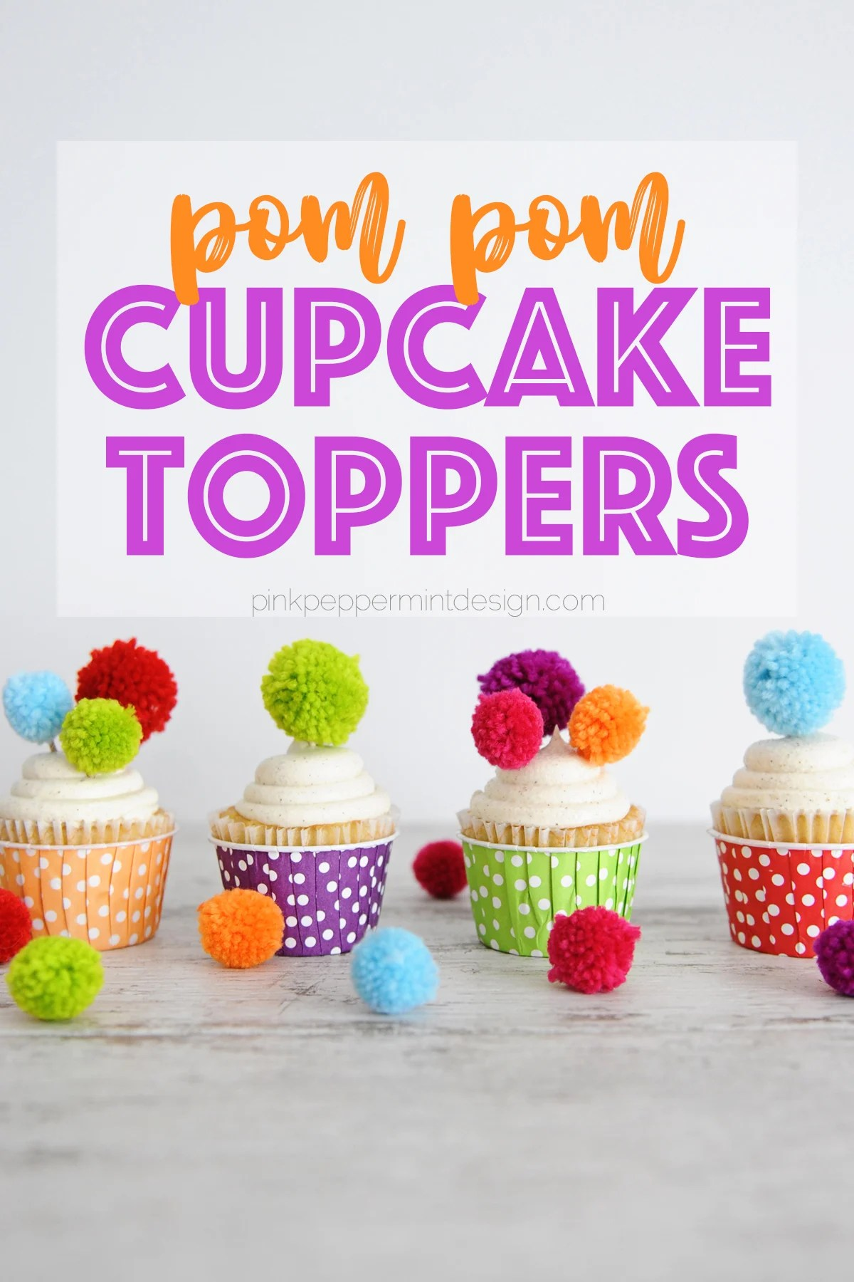 Cupcake Toppers Ideas : DIY Pom Pom Cupcake Toppers