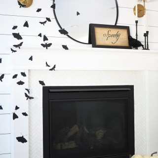 Halloween moth mantel