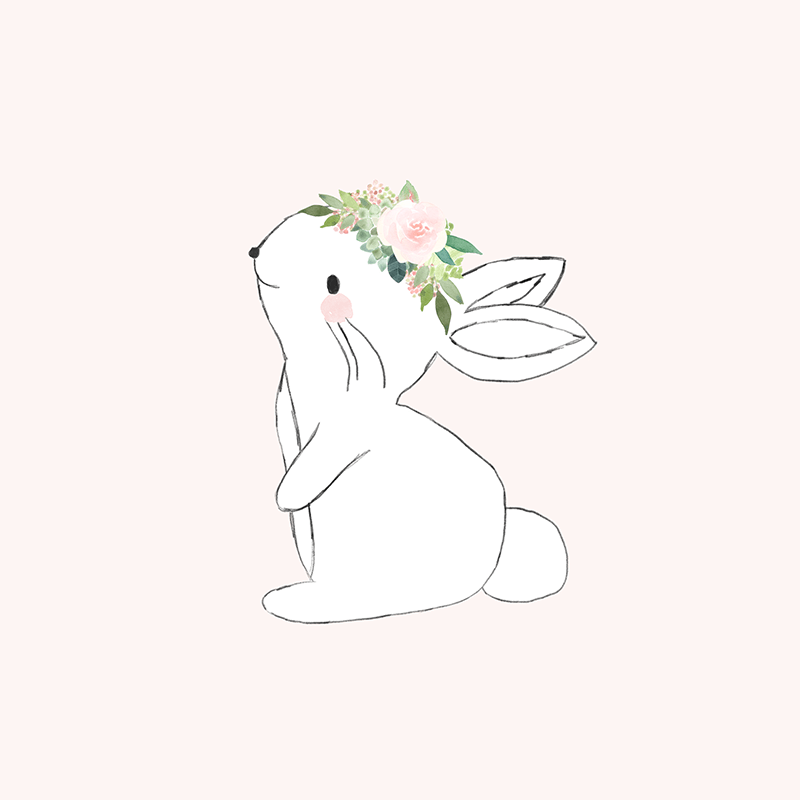 Blush Pink Bunny Wall Art Print