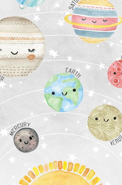 Solar System Baby Nursery Wall Art