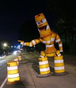 construction barrel sculpture