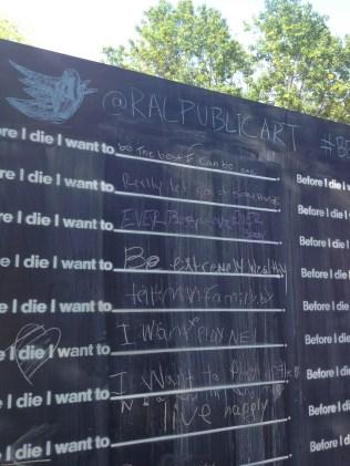 Before I die wall at Artsplosure