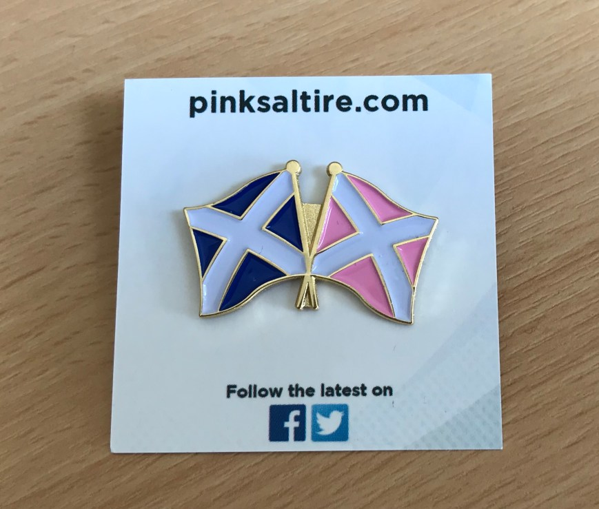 Pink Saltire Pin Badge (Twin Flag)