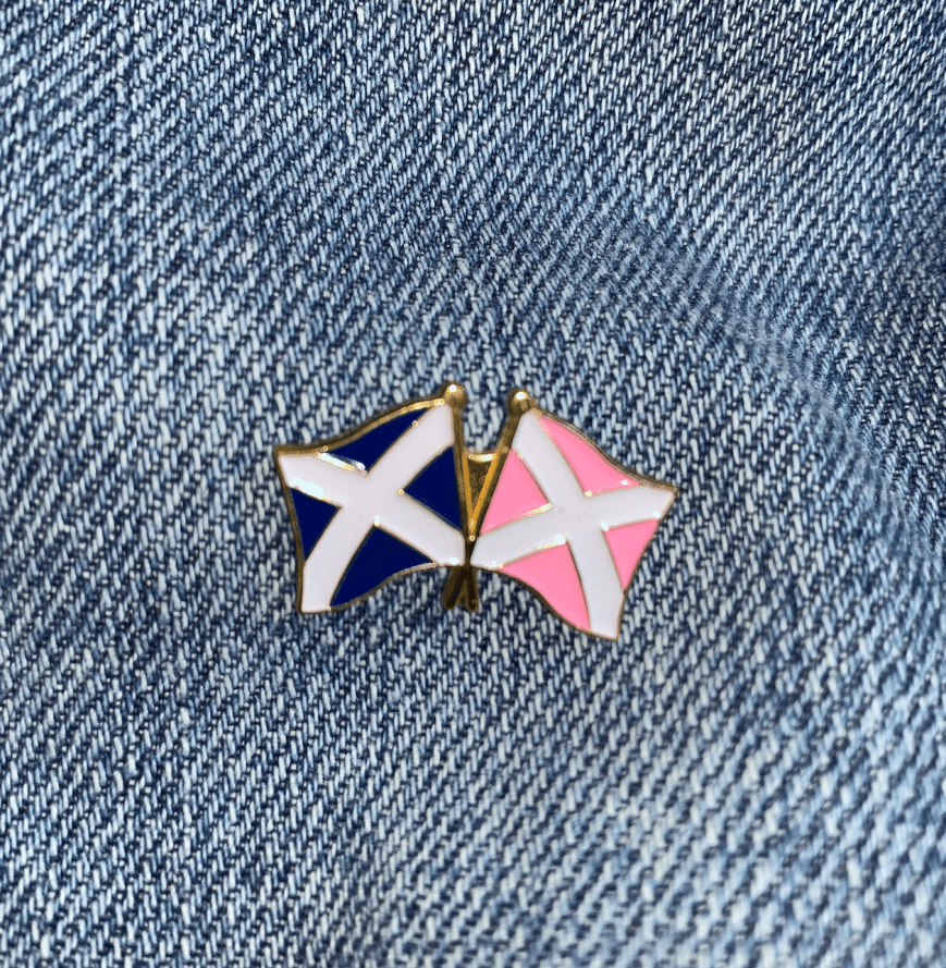 Pink Saltire Twin Flags Pin (25mm)