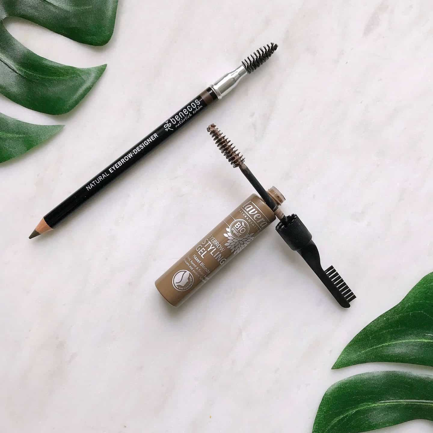 Benecos Natural Eyebrow Designer Pencil in Brown and Lavera Eyebrow Styling Gel help you fake fuller eyebrows