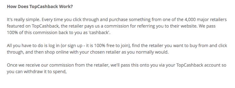 topcashback explaination about how you get free money