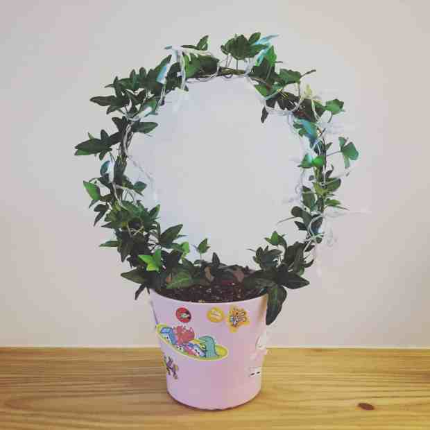 Ivy pot decorated with stickers