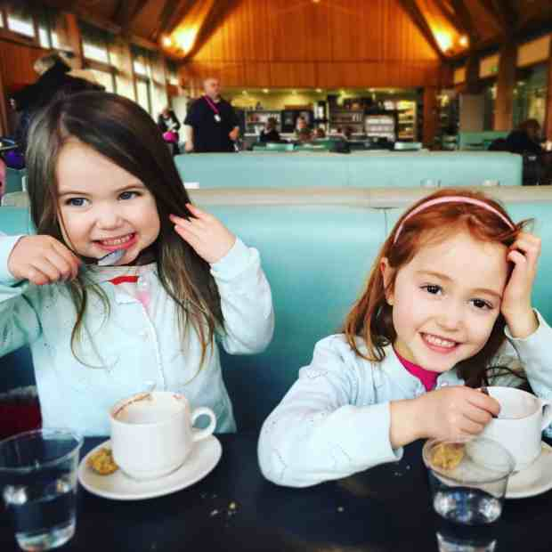 Thea and Ava in a coffee shop