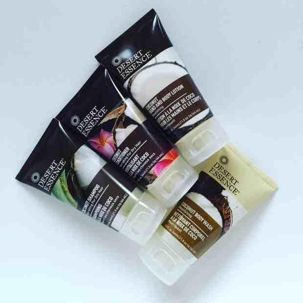 Desert Essence coconut shampoo, conditioner, body wash and body lotion