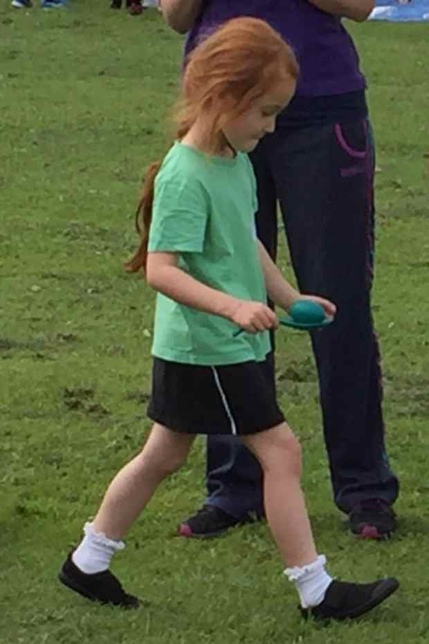 Ava doing the egg and spoon race at Sports Day
