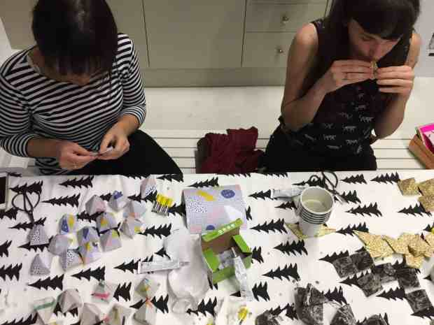 Busy folding at Origami-Est's origami workshop