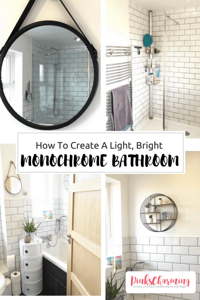 How to create a light, bright monochrome bathroom, with white metro tiles and grey grout and circular black mirrors and shelf. See more pictures at pinkscharming.com