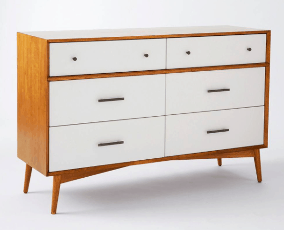 West Elm Mid-Century 6-Drawer Chest of Drawers - White + Acorn