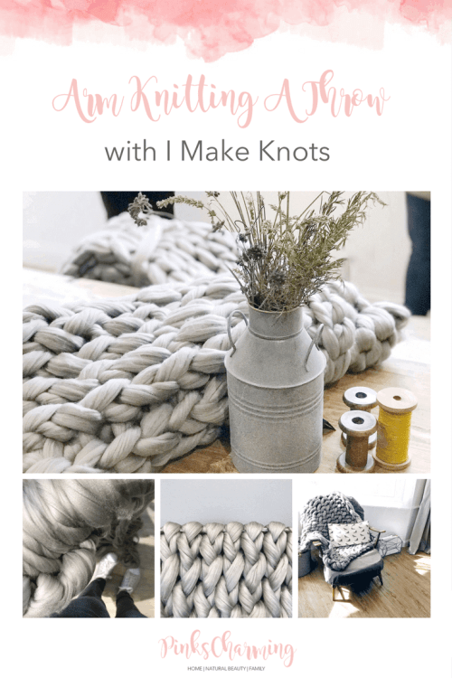 Arm knitting a gorgeously snug grey throw with i Make Knots at Workshop & Play in Ampthill