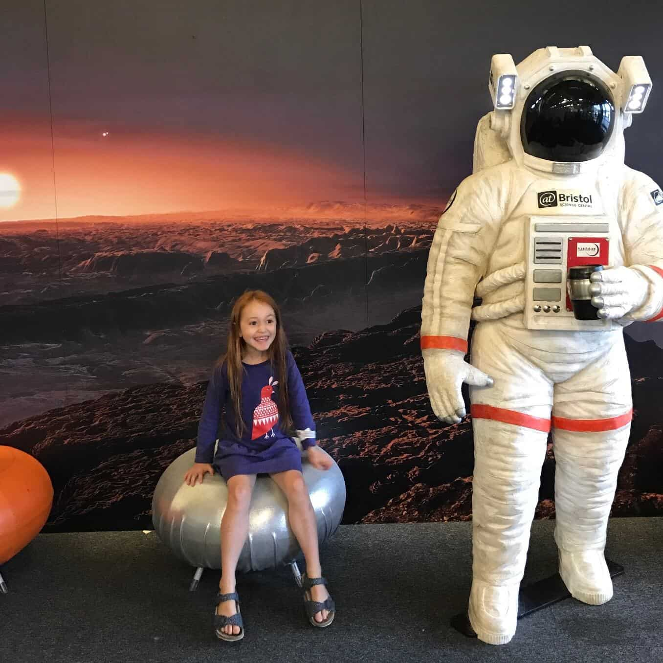 Ava and a spaceman at @Bristol