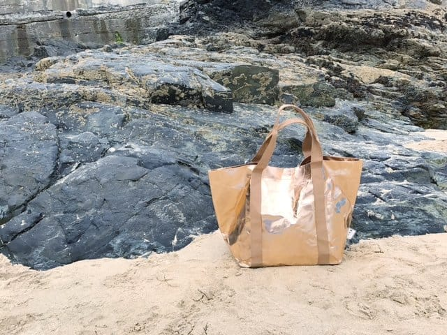 Rose Gold My Paper Tote on a beach