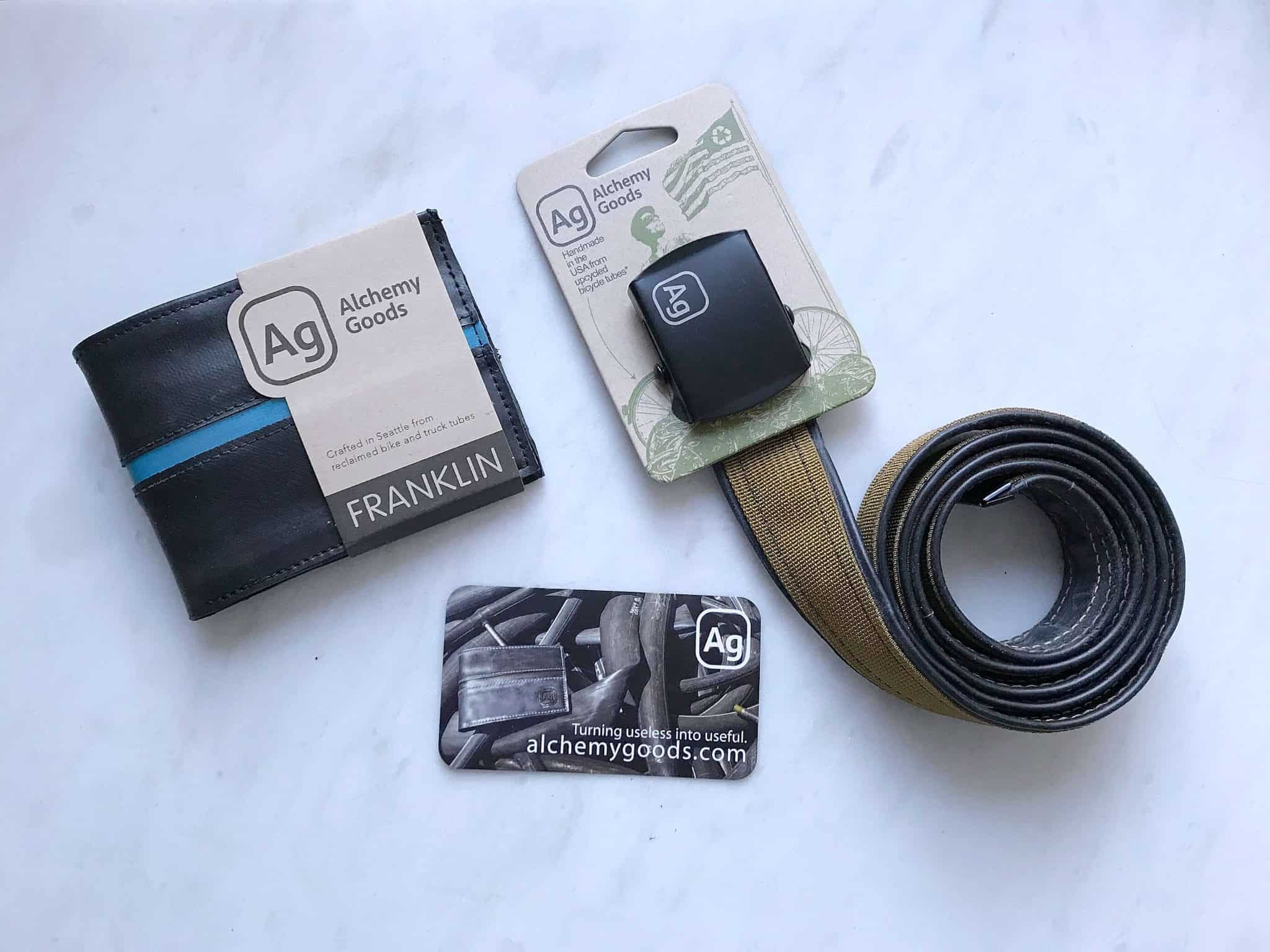 Ethical gifts for him guide, with Alchemy Goods recycled belt and wallet from Uncommon Goods