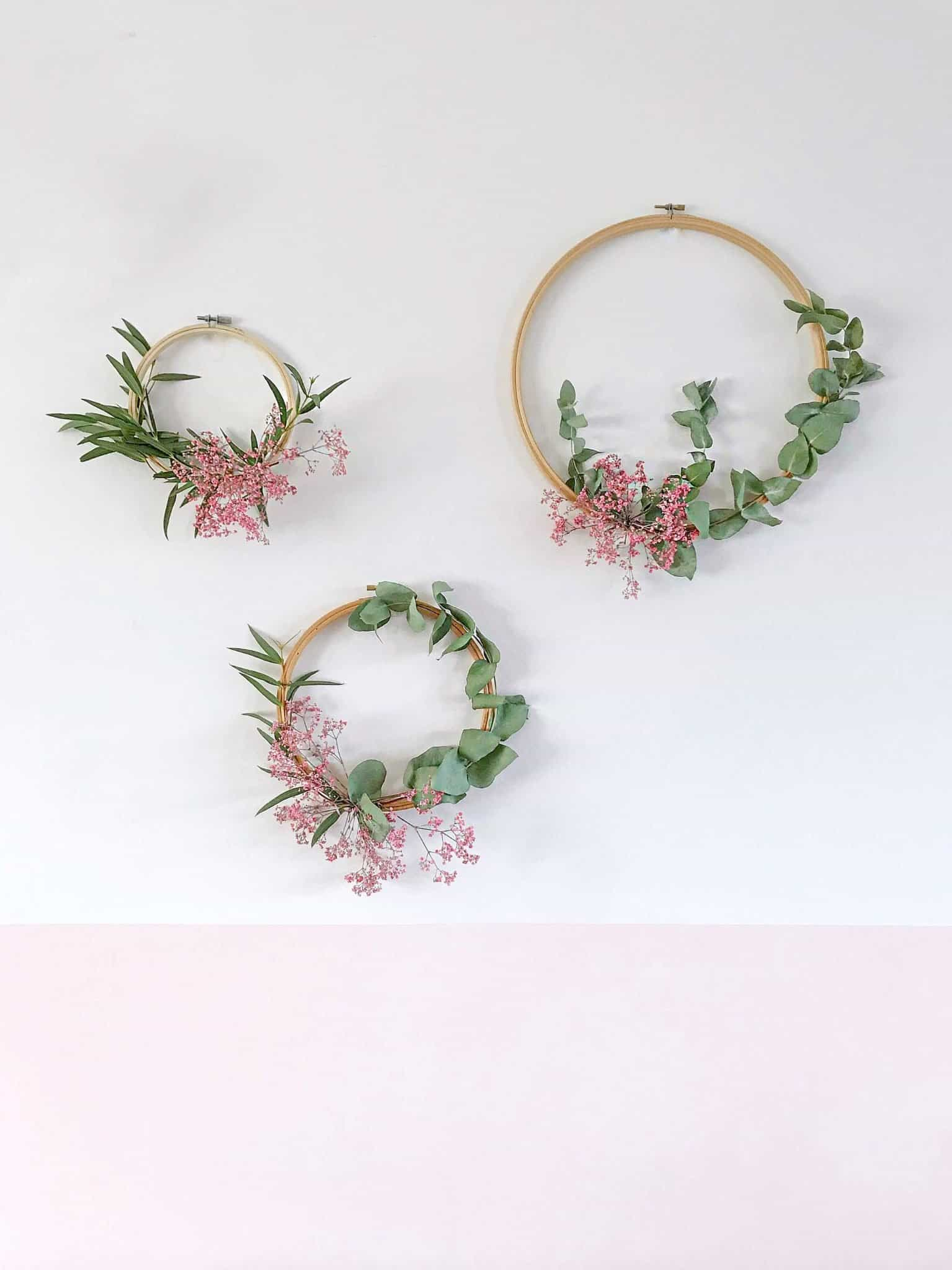 Winter wreaths with emboridery hoops and foliage