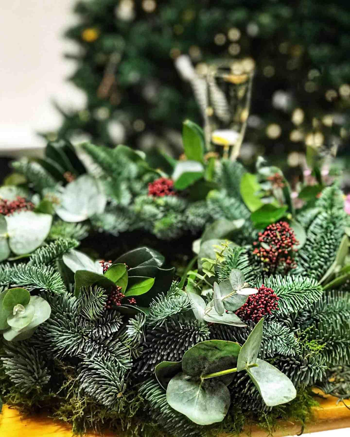Christmas wreath in progess