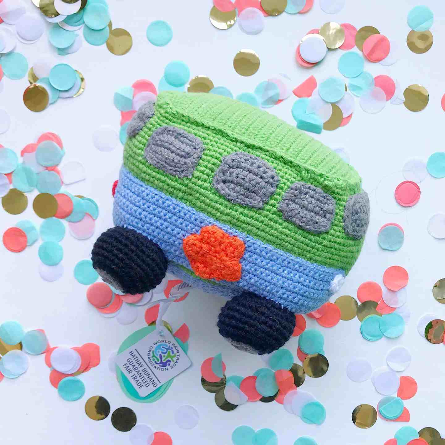 Fair trade Crochet Camper Van Rattle by Pebble at Born Gifted