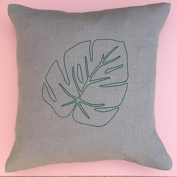 Flat102 Hand Printed Monstera Leaf Cushion
