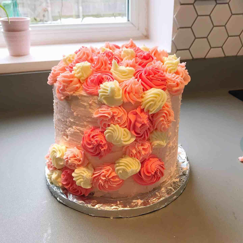 Back of a rainbow unicorn cake