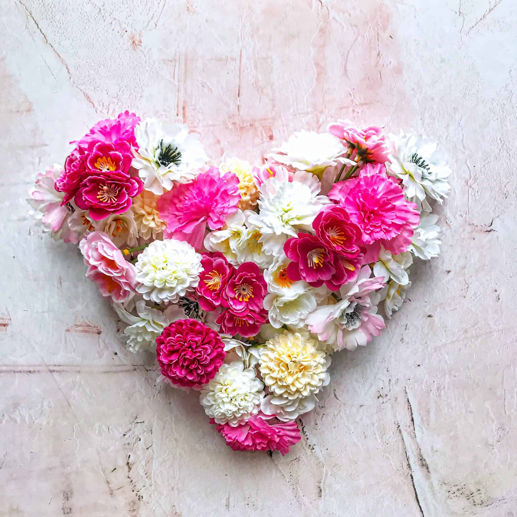 Heart made of fake flowers from Hema